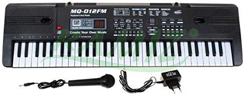 Keyboard MQ-012FM mit Aufnahme-Funktion, Mikrofon, RADIO - 16 Sounds und 10 Rythmen, Lautsprecher, Lautstärkeregler, 61 Tasten, LCD-Anzeige - Electric Piano