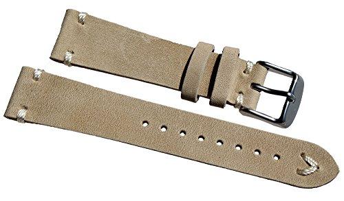 Cinturino in pelle bianco cucitura 19mm/16mm Band Retro Look Quality Strap Sand BS Top qualità