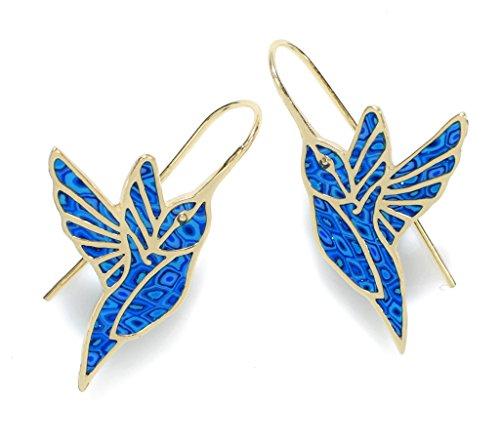 Boucles d'Oreille Colibri Pendantes - Bijoux en Argent fin Plaqué Or et Fimo Bleu