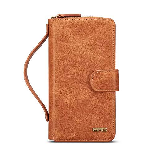 Premium Basic Zip (BRG Classic Premium Leder Abnehmbarer Reißverschluss Magnetverschluss Großes Fassungsvermögen Wallet Case für Samsung Galaxy S7, S7Edge, S8, S8Plus, Note 8, Braun, S7 Edge)