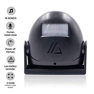 Ladenglocke, AmyTech Zutrittsmelder Bewegungsmelder Durchgangsmelder mit PIR Sensor Schwarz