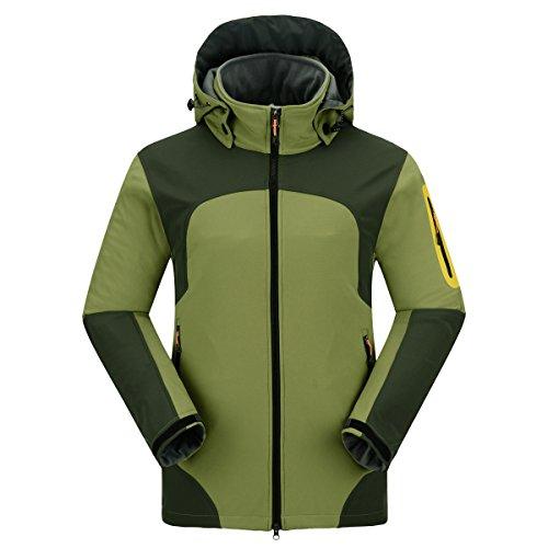 emansmoer Homme Veste Softshell Doublé Polaire Coupe-Vent Imperméable Outdoor Sport d'escalade Camping Randonnée Manteau