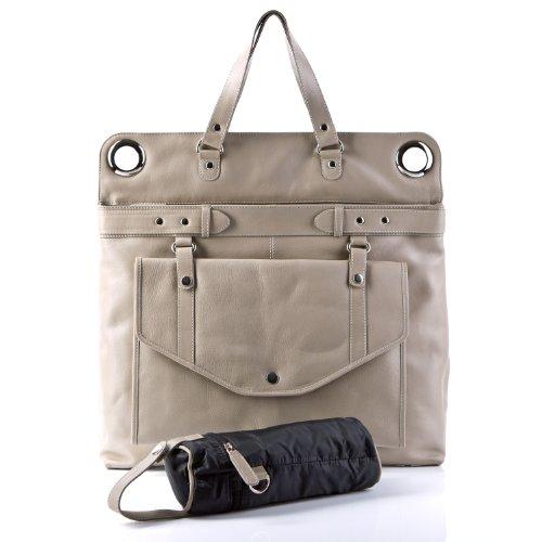 BACCINI Wickeltasche WENDY - Schultertasche groß - Baby-Tasche echt Leder labrador-beige
