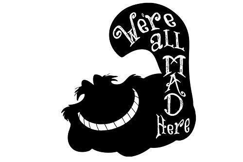 Alice in Wonderland-on Vinyl Wand Decals-Cheshire Katze Zitate, Vinyl, Rose, 12x14