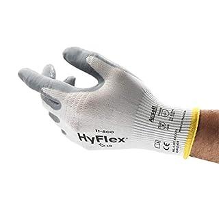 Ansell HyFlex 11-800 Gants de Travail à Usages Multiples, Gant de Protection avec Préhension et Confort Supérieurs, Blanc Gris Taille 9 (12 paires)
