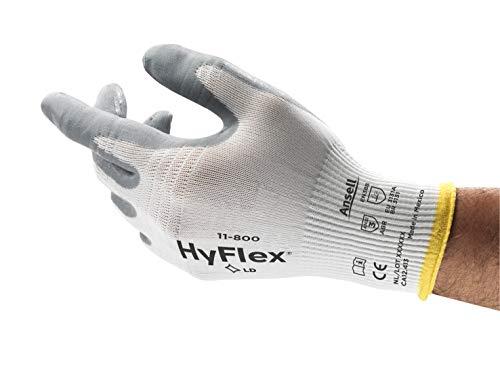 Ansell HyFlex 11-800 Arbeitshandschuhe, Industrie und Mechaniker-Handschuh mit verbesserter Griff- und Komforttechnologie, Weiß Grau Größe 9 (12 Paar)