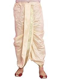 Larwa Men's Solid Silk Dhoti (Cream, Free Size)