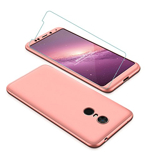 Funda Xiaomi Redmi 5 Plus 360 Grados Oro Rosa Ultra Delgado Todo Incluido Caja del teléfono de la Protección 3 en 1 PC Case + Protectora de Película de Vidrio Templado JOYTAG-Oro Rosa