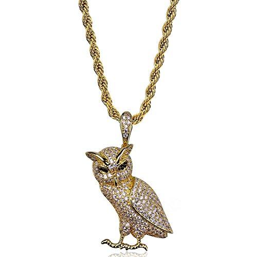 WJMSS Schmuck Hip Hop Eule Anhänger Tier Halskette, 14K Gold Iced Out vollständig CZ Halskette für Männer, Frauen,Gold