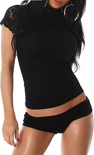 PF-Fashion Maglia Manica Corta Manica Corta Manica Corta Camicia Manica Corta Manica Corta Camicia da Donna Nero