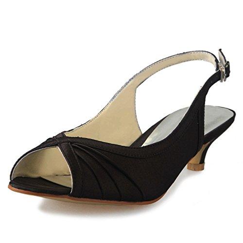 Jia jia scarpe da sposa da donna 01111 peep toe tacco basso sling back sandali satin scarpe da sposa colore nero, taglia 39 eu