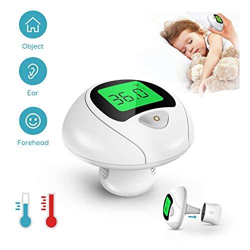 Fieberthermometer Baby Mini, Maxcio Infrarot Stirnthermometer Ohrthermometer für Kinder, 3 in 1 Tragbar Digital Thermometer für Babys/Erwachsene, 1s Messung Zeit, 32 Speicherfunktion, Fieber Warnung