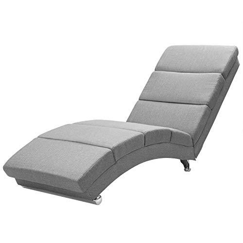 Casaria Relaxliege Liegesessel London Wohnzimmer | Leinen Optik Grau | Ergonomisch | 173x55cm | Modern Liege Relaxsessel