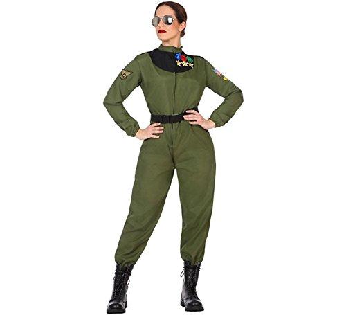 Atosa-50879 Disfraz mujer militar piloto, Color verde, M-L (50879