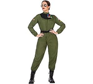 Atosa-50880 Disfraz mujer militar piloto, Color verde, XL (50880