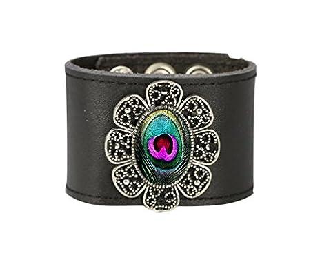 Paon Cuir Cuff, faite à la main Mode Style Bracelet manchette Bracelet en cuir Wrap Bracelet pour femmes par Tizi Bijoux