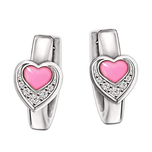 Clever Schmuck Silberne kleine Kinder Creolen 10 mm Herz rosa lackiert 6 mm mit 5 Zirkonia glänzend STERLING SILBER 925 für Mädchen
