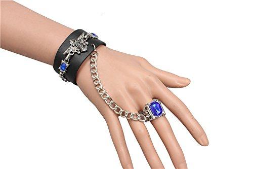 Preisvergleich Produktbild Punk Bracelet, Sapphire Armband mit Fingerring Ring Cosplay Anime Black Butler Kuroshitsuji Adler Nieten Punk Rock Motorradfahrer Biker Herren Bühnenzubehör Unisex für Männer und Frauen (Schwarz)