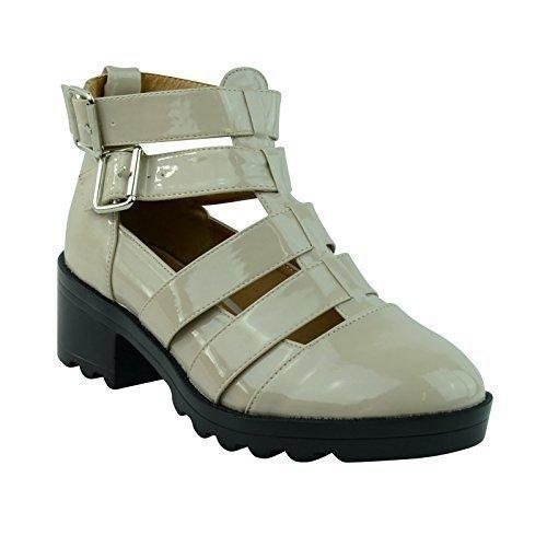 Womens Damen ausgeschnitten profilierte Sohle Mid Blockabsatz Plateau Stiefel Schuhe Größe - hautfarben beige Patent, 39 (Patent Ausgeschnitten)