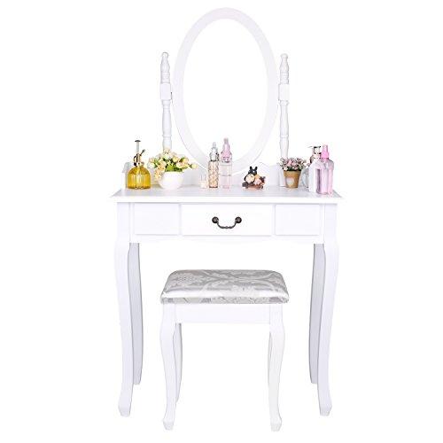 CCLIFE Tocador con cajones y taburete tocador de maquillaje mesa de maquillaje Tocador con taburete y espejo, Color:005-Blanco