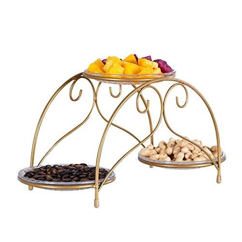 Obstteller, Snack-Teller Doppel Obst Rack Metall Europäischen Obstschale Home Wohnzimmer Europäischen Obstkorb Dessert Display Süßigkeiten Tray -