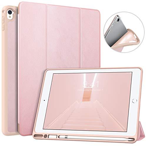 MoKo Hülle Passend für iPad Pro 9.7, Weich Slim Ledertasche mit Auto Sleep/Wake up Funktion & Standfunktion Stift Steckplatz - Rose Gold