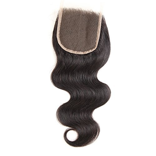 Glary Hair Brazilian Virgin Hair Body Wave Lace Closure Free Middle 4X4 8 Inches (8