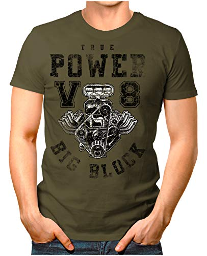 Legendary ItemsTM - True-Power-V8-Big-Block - Herren T-Shirt Printshirt Motorblock Vintage Verwaschen Oliv M -