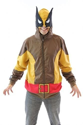 Wolverine (X-Men) Kostüm (braun Wolf) -- Marvel Hoodie Zipper-Fleece Sweatshirt - Wolverine Kostüm Tee