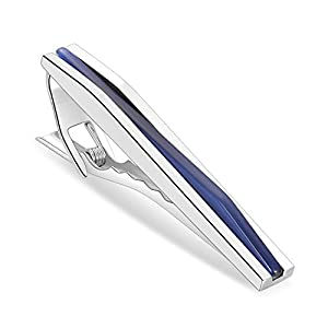Anfly Herren Elegante Krawattenklammern Blaue Edelsteine passen problemlos zu Hemden und Krawatten für den täglichen und Offiziellen Anlass