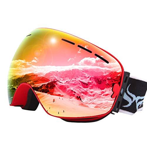 Joyski 7 colori professionale unisex occhiali da sci con specchio rivestimento anti-nebbia protezione uv400 staccabile grandangolare big sferica lente doppia esterna neve sci snowboard skate snowmobile moto sport invernali eyewear (scatola originale includi) rosso