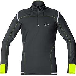 GORE RUNNING WEAR, Maglia Corsa Uomo, Maniche lunghe, GORE Selected Fabrics, MYTHOS 2.0 long, Taglia M, Nero/Giallo, SMYTLM990804