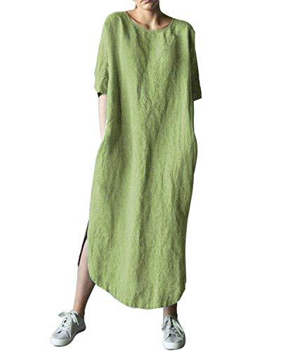 AUDATE Damen Leinen Baumwolle Laterne Lose Kleid Frühling Sommer Herbst Große Größen Kaftan Kleid Grün DE 44 - Baumwolle Kaftan