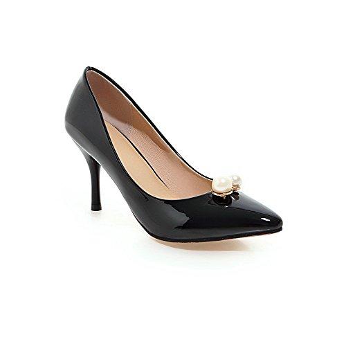 AllhqFashion Femme Verni Couleur Unie Tire Pointu Stylet Chaussures Légeres Noir