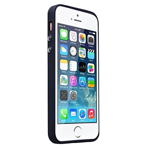 HB-Int Hülle für iPhone SE / 5S / 5 Handytasche Weben Muster Silikon Weich Schutzhülle Nähen mit PU Leder Etui Schale Protective Back Case - Roségold / Rot Royal Blau