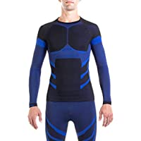 Xaed Men's Ski Baselayer Top, Black/Blue, X-Large