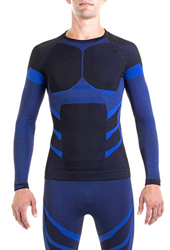 XAED, maglia da sci per strato base, da uomo, colore nero/blu, taglia L, intimo termico uomo
