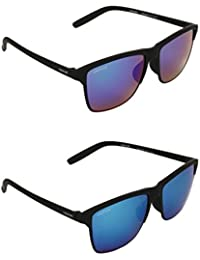 CREATURE UV Protected Wayfarer Unisex Sunglasses -(DOIT-003-004|Blue) - Combo Pack