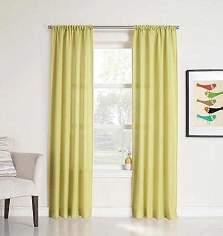 No. 918 Marley Semi-Sheer Rod Pocket Curtain Panel, 40 x 84 Inch, Citrine Yellow by No. 918