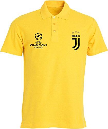 Clique FC Juventus Polo Adulto Personalizzata Made in Italy Passione BIANCONERA (XX-Large, Giallo)