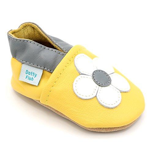 Dotty Fish Leder Babyschuhe mit braunen Wildledersohlen - Baby Mädchen Gelb Gänseblümchen - 2-3 Jahre - Gr. (Stiefel Mädchen Braune Für)