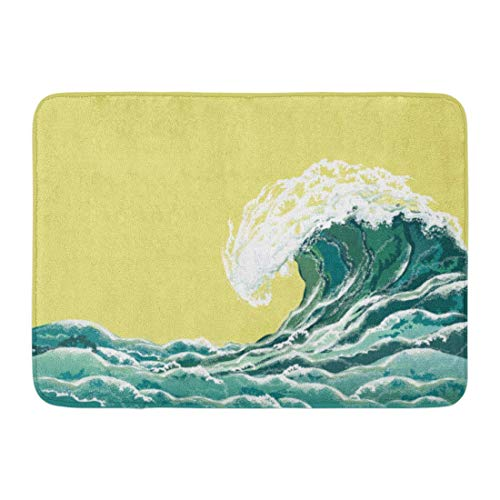 Doormats Bath Rugs Outdoor/Indoor Door Mat Blue Retro Sea Wave ...