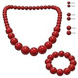 SoulCats® Schmuck-Set, Perlenkette, Perlenarmband, 3 Paar Ohrstecker, Farbe:rot