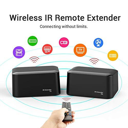 Kabelloser IR Repeater Extender, PAKITE Universelle Fernbedienung Infrarot IR Blaster Extender Booster Kit mit 1 Empfänger und Sender USB Netzteil Batteriebetrieben Ir-repeater