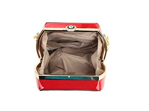 LeahWard® Damen Lange Kette Schulter Handtaschen Berühmtheit Stil Kunstleder Mittlere Größe Tasche Klein Größe Schwarz