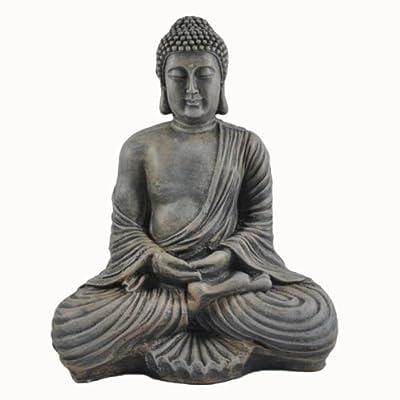 Große Buddha Skulptur Dhyana Mudra in Stein-Optik von Vamundo auf Du und dein Garten