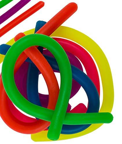 Trendige Stretch-Schnur Colours elastisches Band bunt gegen Langeweile Ziehen Knoten Anti-Stress Squeeze Toys Geschenk-Idee Geburtstag-Party-Feier Mitgebsel Mitbringsel Cool (6er Set) (Coole Geburtstag Party-ideen)