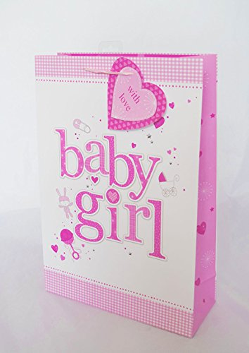 New Baby Girl Gift Bag Extra Large Shower Newborn Present Wrap Luxury Pink Her