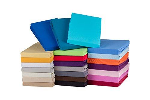 S.Ariba Soft Comfort Baumwolle Jersey-Stretch Spannbettlaken, Verschiedene Farben und Größen, (90x200cm bis 100x200cm, Beige)