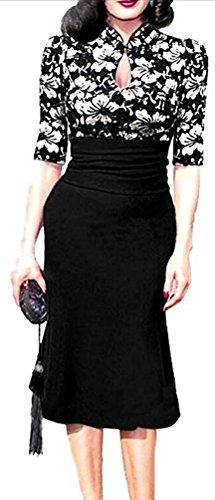 SunIfSnow -  Abito  - fasciante - A pois - Con bottoni  - Maniche corte  - Donna black flower Small